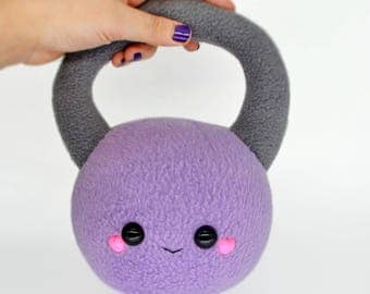 Kettlebell plushie / novelty pillow lifting weight gym cushion