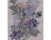 Purple Dahlias - Lavender asters - Painting on paper and viscose satin - Floral original acrylic painting mixed media art lilac mauve- OOAK