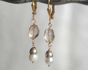 Pearl and gold earrings golden amethyst earrings gemstone earrings small pearl drops assemblage jewelry F603-by French Feather Designs.