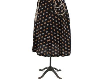 Vintage 1970's High Waist Black Textured Cotton Calico Floral Print A-line Hippie Boho Summer Skirt M L