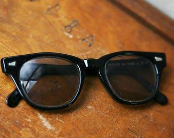 Vintage Black Eyeglasses, Vintage Black Prescription Eyeglasses, Made in USA, Retro Eyeglasses, Black Frames