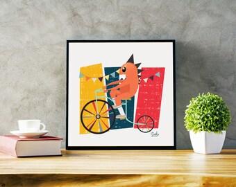 "Digital Download Illustration Poster ""Vintage Circus"", Vector, Nursery, Colorful, Fun, Printable Poster Wall Art Home Decor"