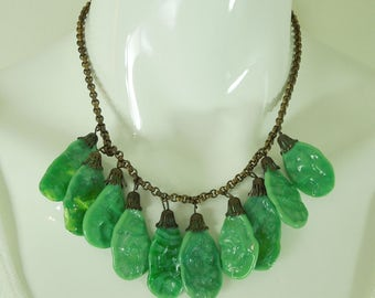 1930s Haskell Style Necklace Faux Jade French Poured Glass Drops Art Deco Necklace