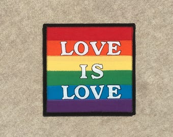 Love is Love, 8x8 inch canvas, sewn fabric art, sewn on a 1968 Singer, all recycled fabrics, ready to hang canvas
