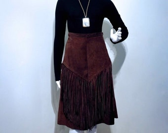 Vintage 1970s SUEDE FRINGED TASSEL High Waisted Midi Skirt // Rich Chocolate Brown // Extra Long Fringe