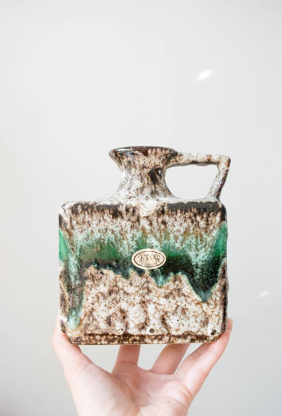 Mid Century Studio Pottery Fat Lava Vase // Jopeko Germany