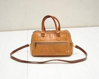 Vintage Brown Leather Handbag Purse / ITEM468