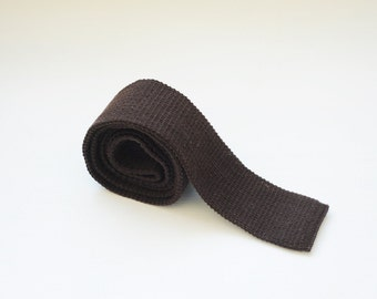 Vintage Brown Knit Skinny Tie with Flat Bottom, Made in USA / ITEM699