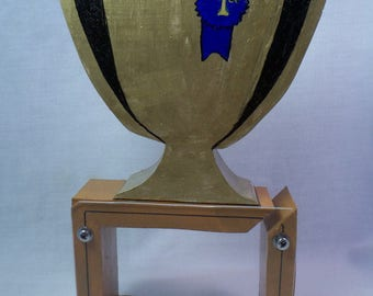 Moving Sale - Trophy with First place ribbon wooden bank