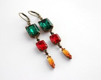 Christmas earrings, Long earrings, dangle earrings, emerald earring, red earrings, topaz earrings, Swarovski earrings, Christmas gift,