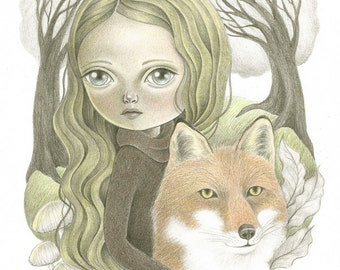 Woodland Themed Original Art, Forest Friends Original Pencil Drawing, Fox and Little  Girl Illustration, Gift for Nature and Animal Lovers