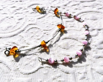 2 Vintage Bracelets 925 Sterling Silver - Amber and Rose Quartz Cat's Eye