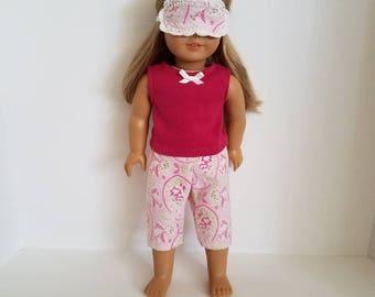 American Girl Doll Pajamas and sleep mask. Ready to ship!