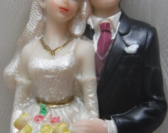 Mid Century Bride and Groom Cake Topper  Bridal Figurine
