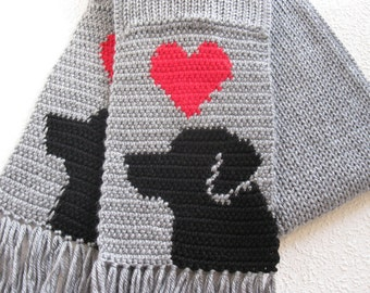 Labrador Retriever Scarf. Grey, knit and crochet scarf with red hearts and black labs. Knitted dog scarf
