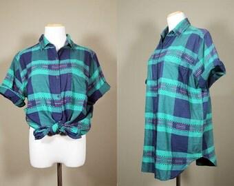 Southwestern Teal PLAID Shirt + Vintage 90s Oversized Checkered Shirt  + Short Sleeve Button Up Shirt + Plus Size Vintage Shirt +