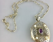 Gorgeous Vintage Sterling Silver Amethyst Pearl Locket Pendant Necklace