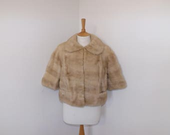Vintage 1940s real champagne mink light blonde bolero jacket coat by Marshall and Snelgrove in original box size Medium UK 10 12