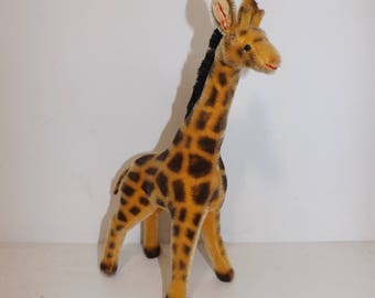Vintage 1970s Hermann mohair soft toy Giraffe collectable straw filled stuffed