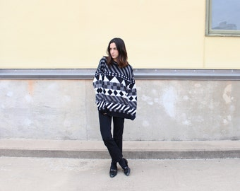 vintage 90s slouchy geometric sweater