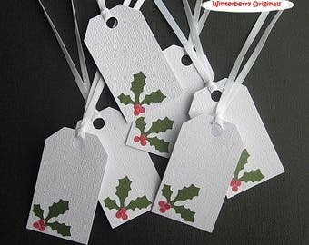 Gift Tags - Holly Leaves and Berries on White - Christmas - Set of 6