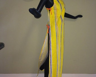 MOD Vintage 70s Vera Neumann Ladybug Maxi Dress 1970s Hippie Boho Swimsuit Cover Up Coverup Yellow Striped Stripe Adjustable Side Ties S