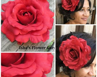 Large red rose hair flower clip, XL oversized