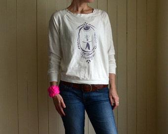 SALE. Courage Long Sleeve Tee. Feminist T-shirt. Inspirational Tee. Yoga Shirt. White Tshirt. Women's Tee. Yoga Clothing. Women Power.