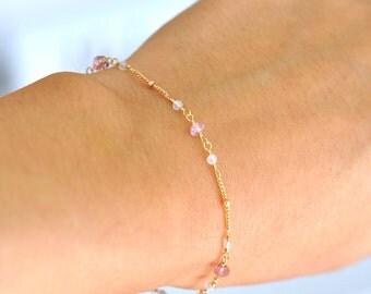 14K Gold. Moonstone & Pink Tourmailine Bracelet in 14KYG , Delicate Gold Bracelet, June Birthstone Jewelry, Holiday Gift for Her, Weddings