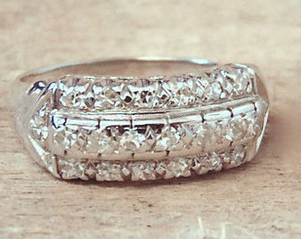 Vintage  Diamond Ring in 14K White Gold, Diamond Band, Engagement, Wedding,Anniversary