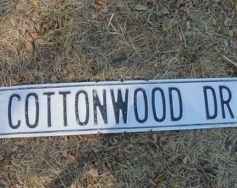 """Vintage White Washed TIN Street Sign Chippy Shabby Paint Black Letters 30"""" x 6"""" COTTONWOOD DR"""