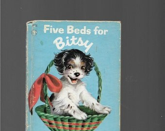 JUNIOR ELF BOOK, Vintage Small Children's 1950 Hardcover Book, Five Beds For Bitsy, A Puppy Grows Up, Puppies, Baskets, Nostalgia, Books,