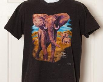 90s African Elephant Tshirt - L