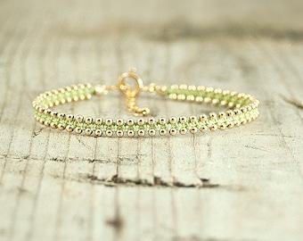 Friendship bracelet Peridot and Gold,dainty bracelet,handmade beaded bracelets,stack bracelets,trendy jewelry,bracelet for her,thin bracelet
