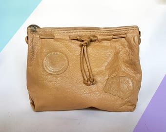 Vintage Drawstring Shoulder Bag in Camel Leather by Carlos Falchi