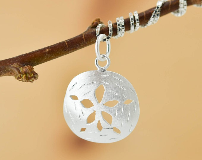 Sand Dollar Pendant, Sand Dollar Necklace, Sand Dollar Jewelry Charm, 925 Sterling Silver, Bridesmaid Gift, Best Friend Gift, Gift for her