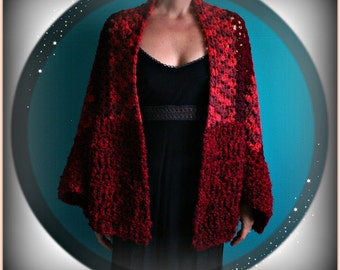 Crochet Red Shawl,Knit Shawl,Wrap,Cape,Crochet Scarf,Knit Scarf,Womens Clothing,One Size,Red,Soft,