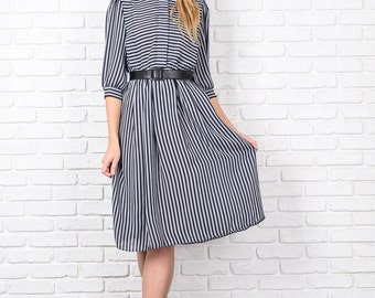 Vintage 80s Gray + Black Striped Print Dress Puff Sleeve Peter Pan Small S 8652