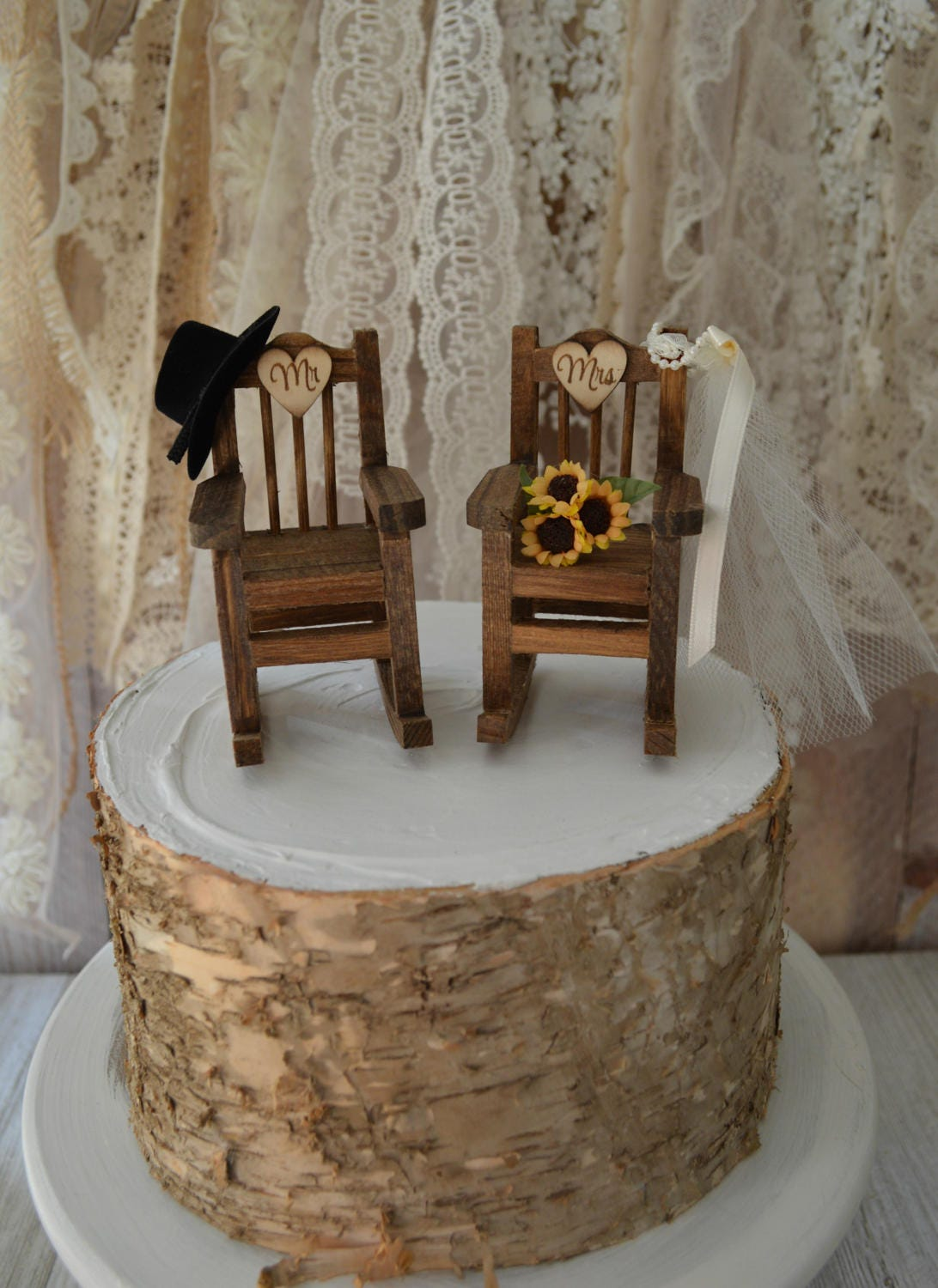 Rocking Chair With Cowboy Hat Sunflowers Cake Topper