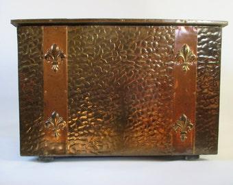 brass box vintage metal covered fleur de lis decorative storage trunk - Decorative Storage Trunks