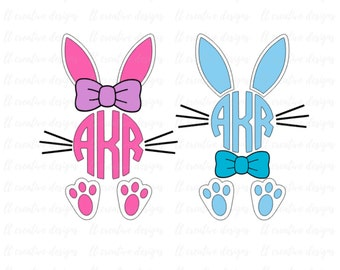 Easter Bunny Svg, Easter Svg, Easter Bunny Bow Tie SVG, Easter Monogram Svg, Bunny Svg, Silhouette Cut Files, Cricut Cut Files, Svg Files