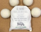 4 Pack Extra Large Felted Wool Dryer Balls - Unbleached All Natural Dryer Balls - Natural Fabric Softener - Eco Laundry Alternative - RTS