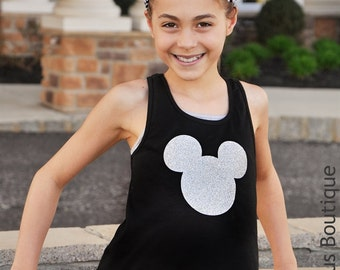 Girls Glitter Mickey Mouse Shirt Disney Shirt Tank Top Walt Disney Vacation Family Trip Choose Color