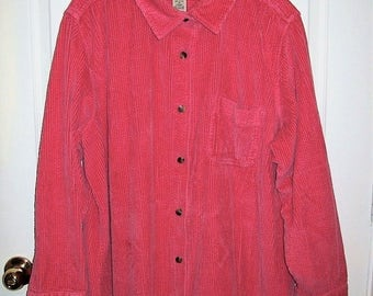 Vintage Ladies Pink Corduroy Shirt Jacket by L L Bean 2X Only 14 USD
