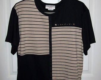 Vintage Ladies Black & Tan Knit Shirt w/ Silver Heart Trim by Peter Popovitch Petite Large Only 7 USD