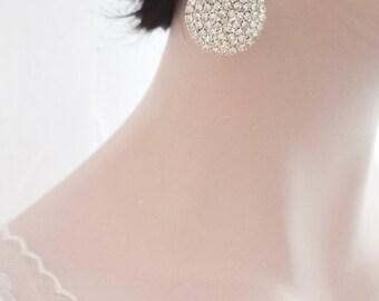 Crystal teardrop earring, Large crystal earrings, Crystal wedding earrings, Sterling posts, Brides earrings, Bridesmaids, Prom, SPARKLY
