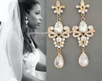 Gold chandelier earrings - Long - Gold wedding earrings~ Gold crystal earrings ~ Fleur de lis ~ French royalty ~ Gold wedding earrings