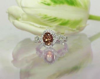 Oval Gemstone Ring, Tourmaline Ring, Tourmaline Halo Ring, Halo Ring, Oval Halo Ring, Peach Tourmaline, Gemstone Ring, Oval Ring, Tourmaline