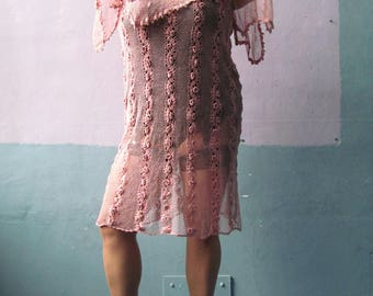Vtg 70s 80s Mauve Net Dress / Tunic Dress / Crochet Style / Flutter Sleeve
