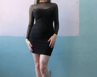 Vtg 90s Tadashi Mini / Corset Dress / Goth  Mini
